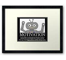 Hastily Made Robot Demotivator funny nerd office geek Framed Print