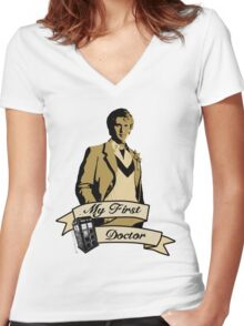 Doctor Who - My first Doctor (Who) fifth 5th Peter Davison Women's Fitted V-Neck T-Shirt