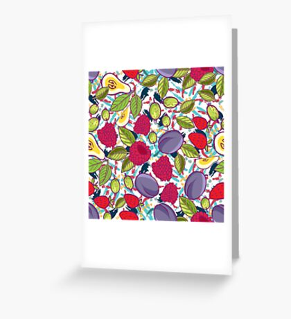 Tribal and Sweet berries seamless Greeting Card