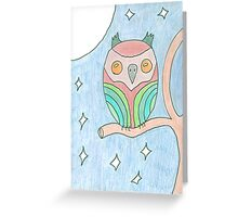 Colourful Owl Original Drawing Greeting Card