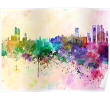 Abu Dhabi skyline in watercolor background Poster