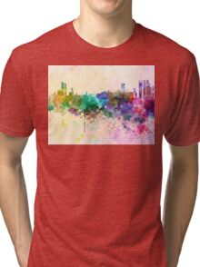 Abu Dhabi skyline in watercolor background Tri-blend T-Shirt