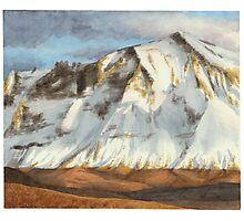 Cascade mountains watercolor Photographic Print
