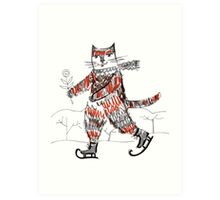Figure-Skater Cat Art Print