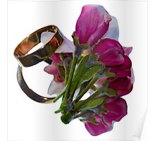 Golden Rings and Spring Flowers Poster
