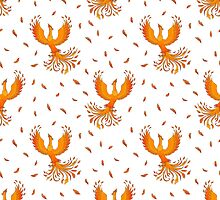 Pattern with Phoenix bird and feathers. by AllaRi