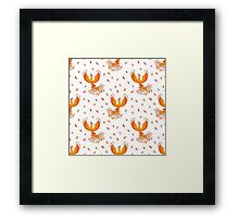 Pattern with Phoenix bird and feathers. Framed Print