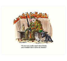 Cartoon: hunter & dog in duck blind Art Print