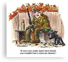 Cartoon: hunter & dog in duck blind Canvas Print