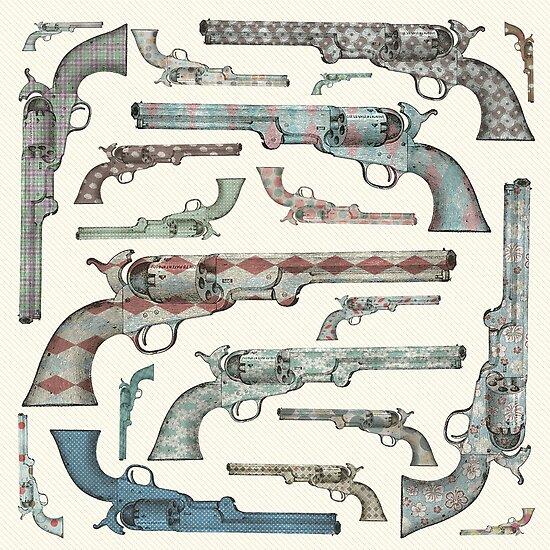 Happy Vintage Pistols by Paula Belle Flores