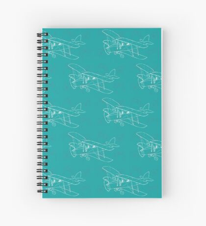 Pattern with hand drawn airplanes Spiral Notebook