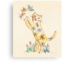 Cat with Butterflies Canvas Print
