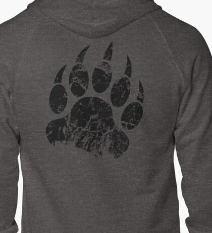 Bear Claw Print Black Zipped Hoodie