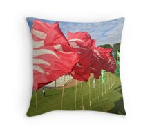 Olympic Flag Flames Throw Pillow