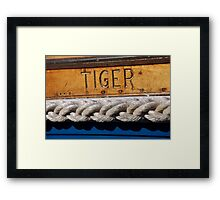 Tiger name on boat, Salcombe, Devon, UK Framed Print