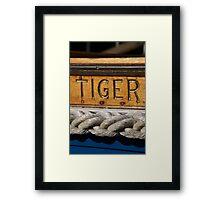 Tiger name on boat, Salcombe, Devon, UK Framed Print