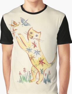 Cat with Butterflies Graphic T-Shirt