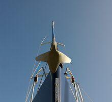Bow of sailing yacht in boatyard, Salcombe, Devon, UK by silverportpics