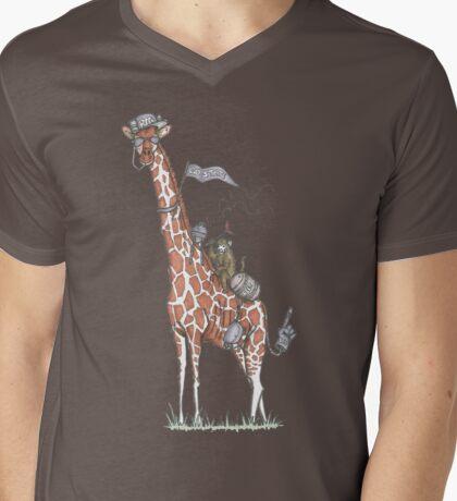 Giraffes Love College Mens V-Neck T-Shirt