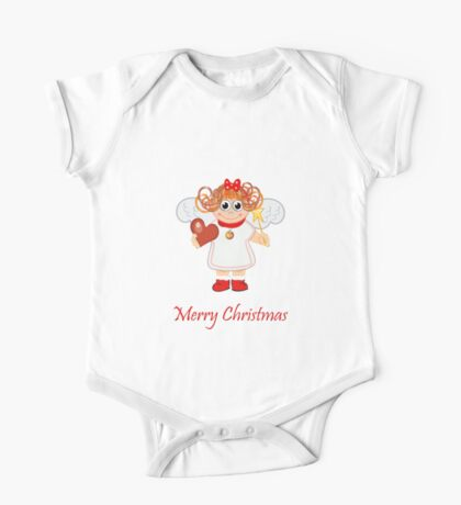 Cute Angel with Heart, star and text One Piece - Short Sleeve