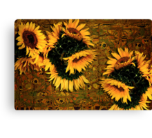 Sunflowers and Mexican Tile Canvas Print
