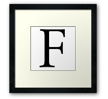 F, Alphabet Letter, ef, EFF, Foxtrot, Frank, A to Z, 6th Letter of Alphabet, Initial, Name, Letters, Tag, Nick Name Framed Print