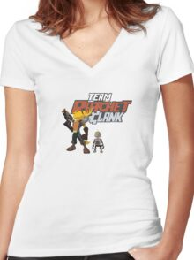 Team Ratchet & Clank Women's Fitted V-Neck T-Shirt