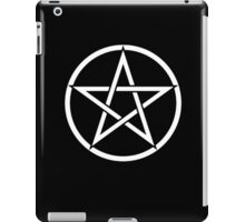 Pentacle, Witch, Modern Pagan, WICCA, Witchcraft, religion, White on Black iPad Case/Skin