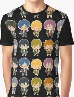 Free! Polkadot Group Chibi Graphic T-Shirt