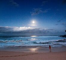 Full Moon Over Waimea Bay 2 by Alex Preiss