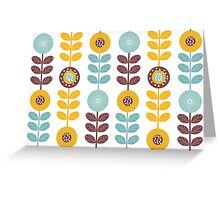 Flowers, Leaves, Plant Stems - Blue Yellow Brown Greeting Card