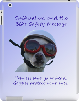 Chihuahua and the Bike Safety Message Tee and Sticker by Corri Gryting Gutzman