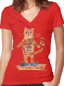 Cat Waiting for Sweetheart Women's Fitted V-Neck T-Shirt