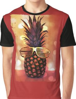 Pineapple with Grill Glasses Graphic T-Shirt