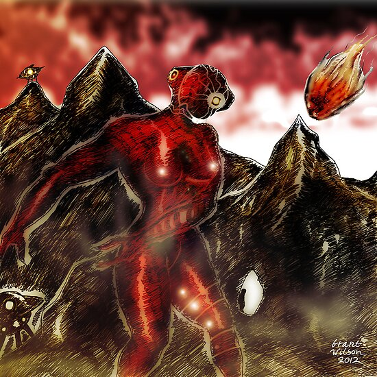 Red Alien on Mountain World by Grant Wilson