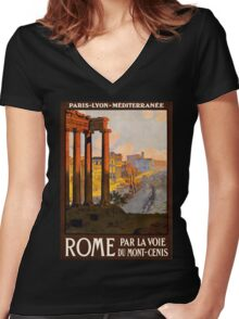 Vintage Travel Poster: Rome Women's Fitted V-Neck T-Shirt