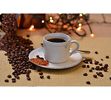 Coffee cup with golden coffee beans  Photographic Print