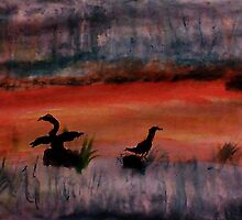 Sunrise ,heron feedng, watercolor by Anna  Lewis, blind artist