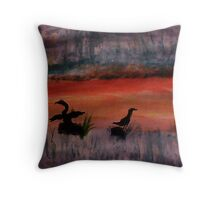 Sunrise ,heron feedng, watercolor Throw Pillow