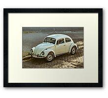 Classic Volkswagen Beetle Car Parked on Street Framed Print