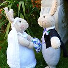Hand knitted Bride and Groom Rabbits by mrsmcvitty