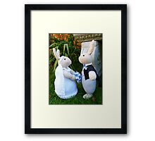 Hand knitted Bride and Groom Rabbits Framed Print