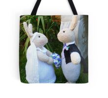Hand knitted Bride and Groom Rabbits Tote Bag