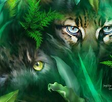 Jungle Eyes - Panther & Ocelot by Carol  Cavalaris