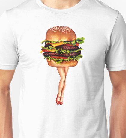 """Stacked"" - Cheeseburger Girl Unisex T-Shirt"