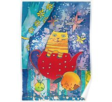 Cat in Red Teapot Poster