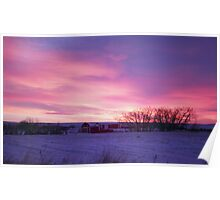 Winter Prairie Sunrise Poster