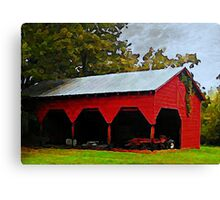 Red Shed - A Watercolor Canvas Print