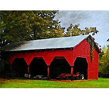 Red Shed - A Watercolor Photographic Print