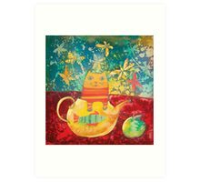 Cat in Yellow Teapot Art Print